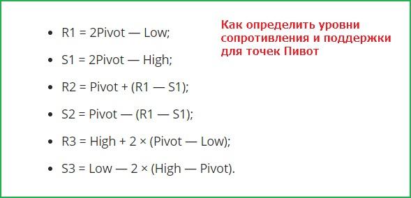 Формула расчета уровней точек Pivot
